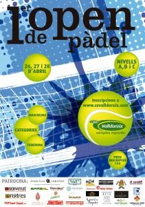 Cartell 1 open padel Complex Esportiu Valldoreix