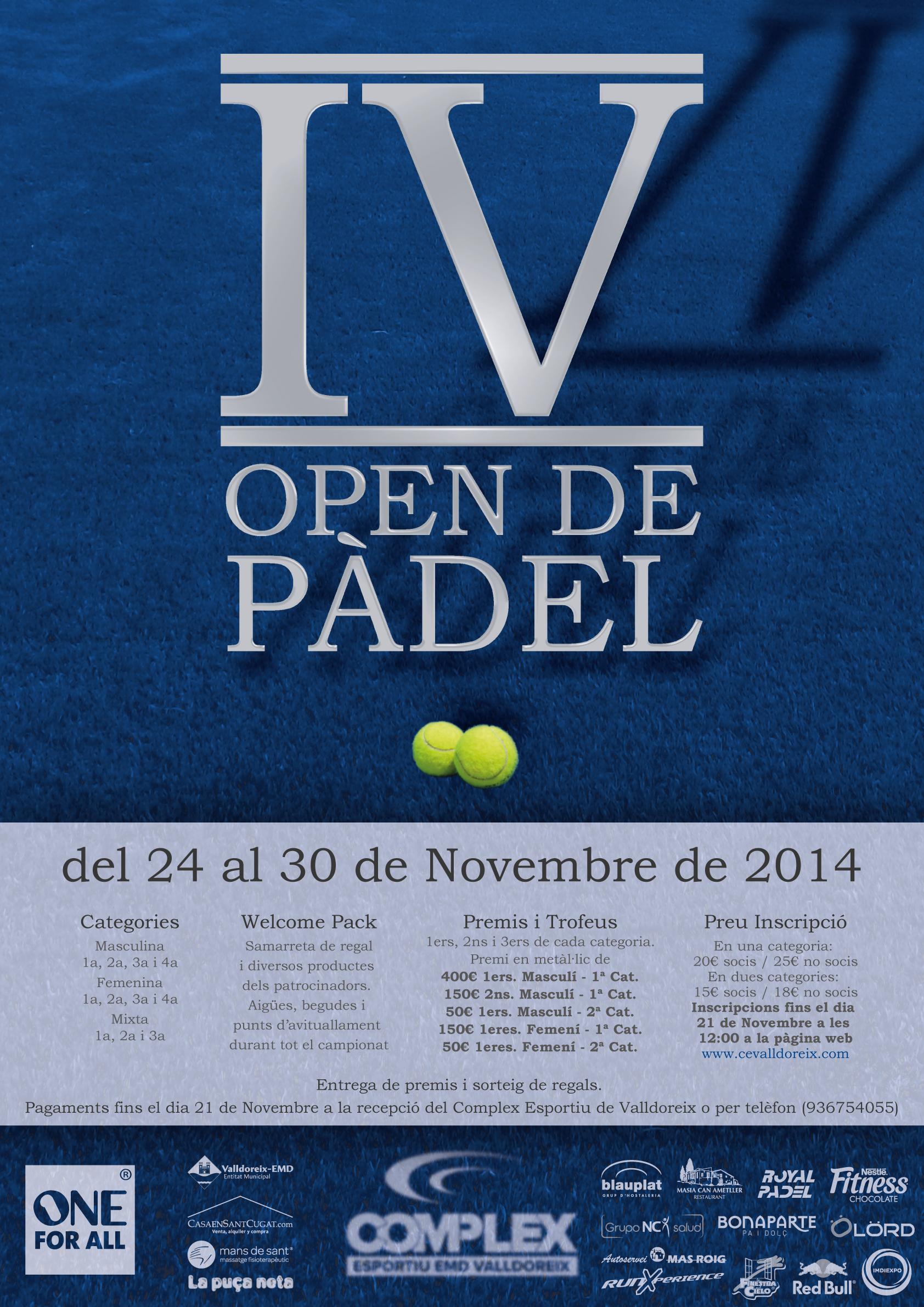 IV Open de Pàdel Complex Esportiu Valldoreix