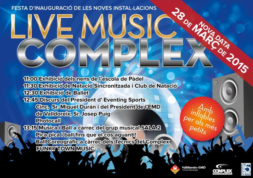"Cartell de la festa ""live Music Complex"""